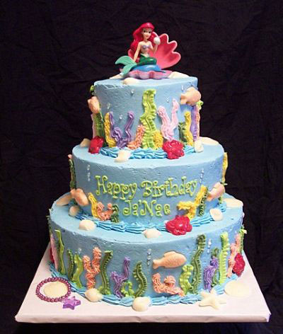 Mermaid Tattoos on Tall Little Mermaid Cake   Mermaid Cakes Gallery   Mermaid Cakes
