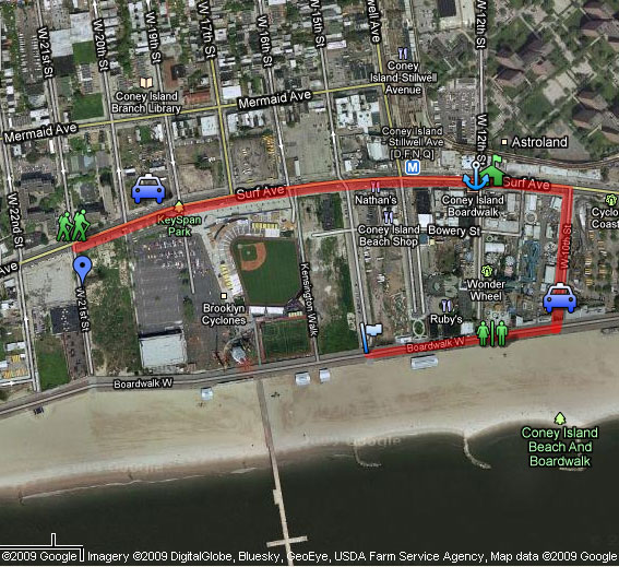 2019 Mermaid Parade Satellite Route